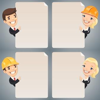 Personaggi dei cartoni animati degli uomini d'affari che esaminano l'insieme in bianco del manifesto