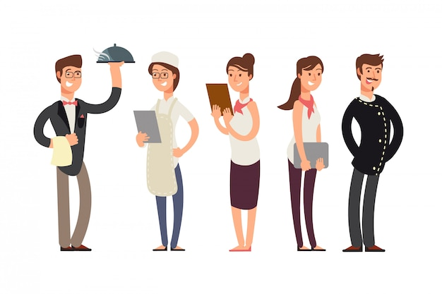 Personaggi dei cartoni animati di chef, sommelier e cameriera. concetto di team di cucina del ristorante