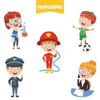 Personaggi dei cartoni animati di diverse professioni