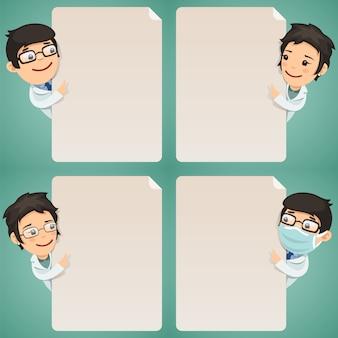 Personaggi dei cartoni animati di medici che esaminano l'insieme in bianco del manifesto