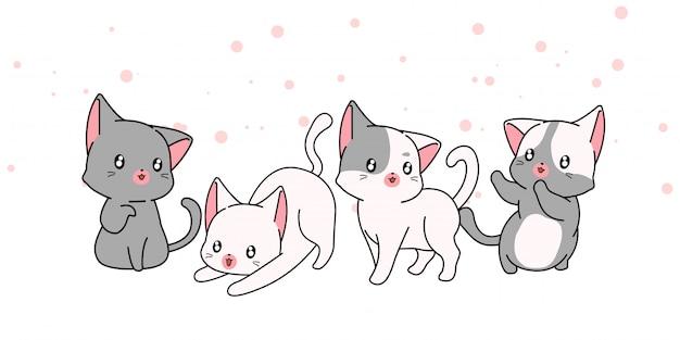 Personaggi dei cartoni animati disegnati a mano del gatto di kawaii su fondo bianco