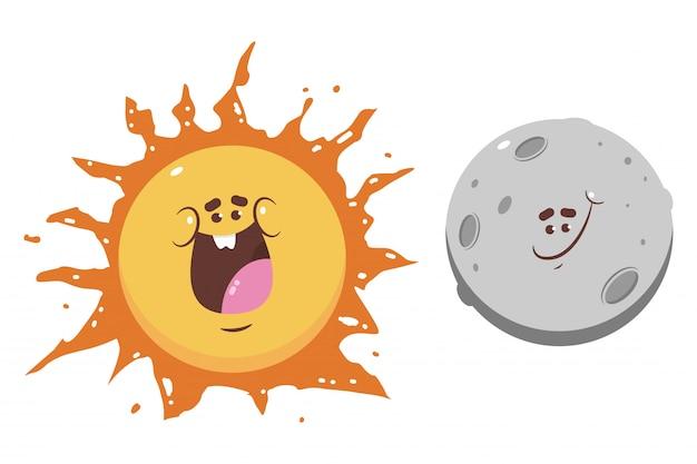Personaggi dei cartoni animati divertenti della luna e del sole isolati su una priorità bassa bianca.
