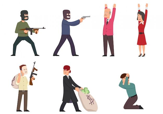 Personaggi dei cartoni animati divertenti isolati ladri, gangster, gangster con pistole, ostaggi.