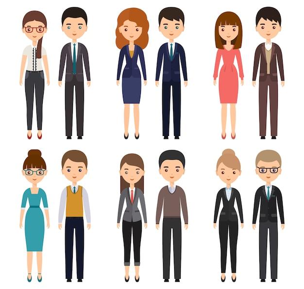 Personaggi dei cartoni animati in abiti d'affari. illustrazione.