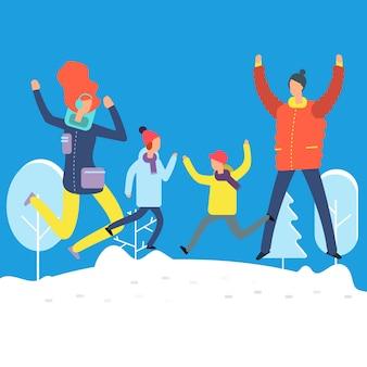 Personaggi dei cartoni animati in abiti invernali. famiglia felice che salta nel cumulo di neve