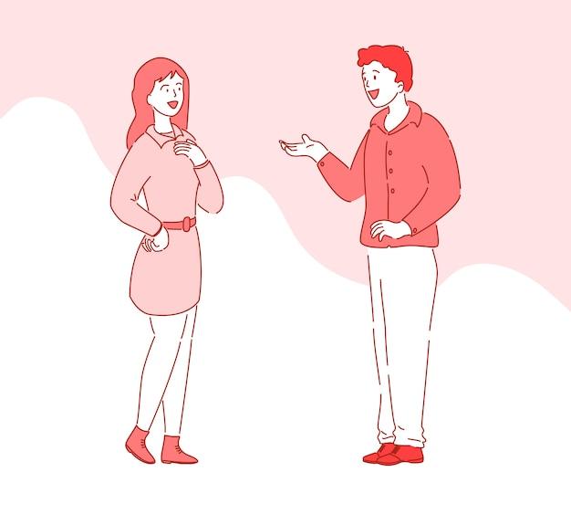 Personaggi dei cartoni animati persone piatte parlando