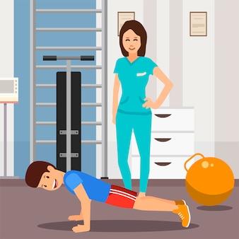 Personaggi dei cartoni animati ragazzo felice e medico esercizio