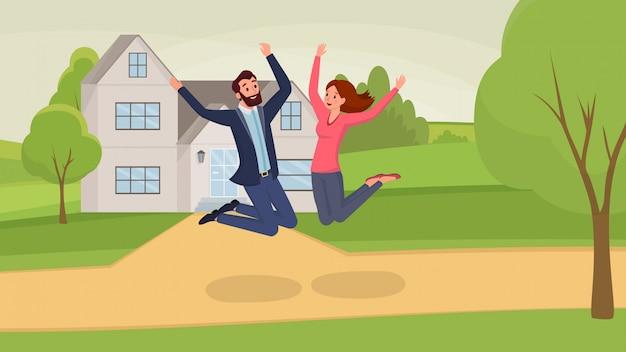 Personaggi dei cartoni animati uomo e donna, divertendosi, celebrando lo spostamento in una nuova casa