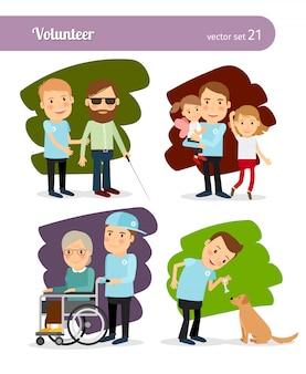 Personaggi dei cartoni animati volontari giovane