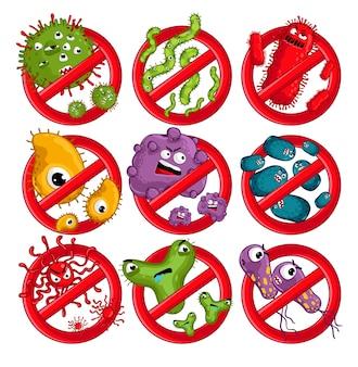 Personaggi dei virus dei cartoni animati isolati