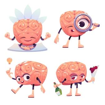 Personaggi del cervello, mascotte dei cartoni animati con la faccia buffa