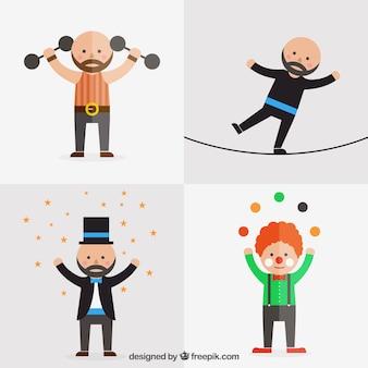 Personaggi del circo piatte