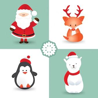 Personaggi del fumetto di natale come babbo natale, volpe con antenne di renne, pinguino, orso polare