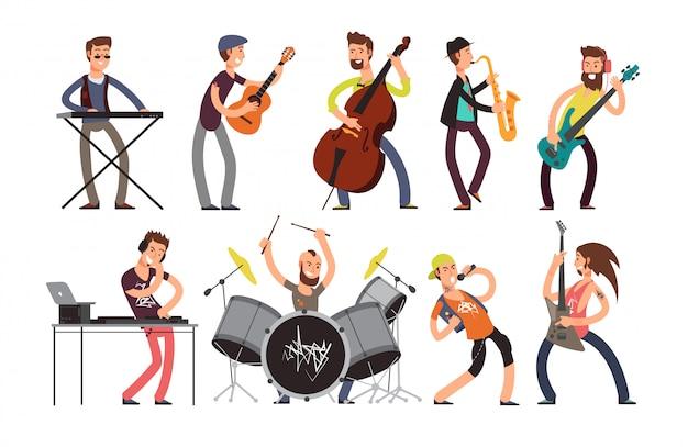 Personaggi del gruppo musicale rock n roll con strumenti musicali.