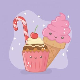 Personaggi deliziosi e dolci di cupcake e prodotti kawaii
