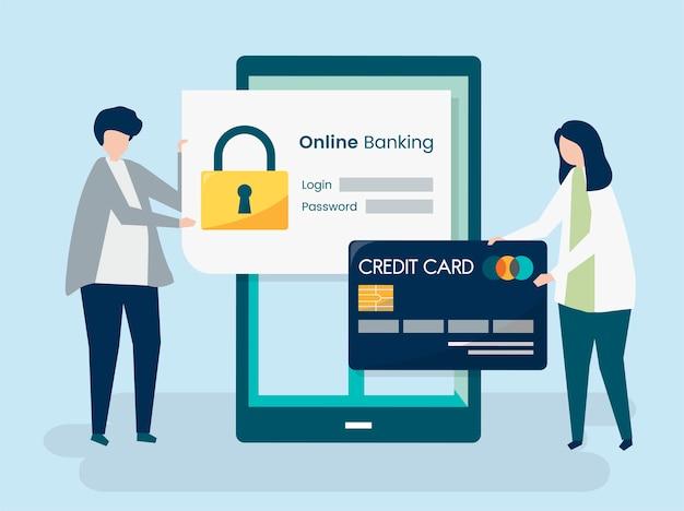 Personaggi della gente e concetto di sicurezza bancario online