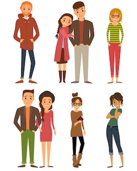Personaggi della gente set di caratteri con stile design piatto.