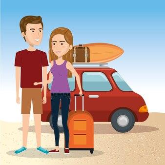 Personaggi delle coppie sulla spiaggia