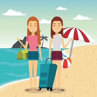 Personaggi delle donne in spiaggia