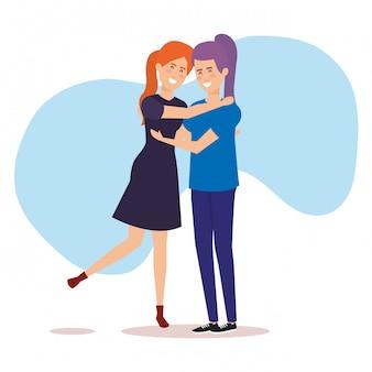 Personaggi di avatar di ragazze di coppia