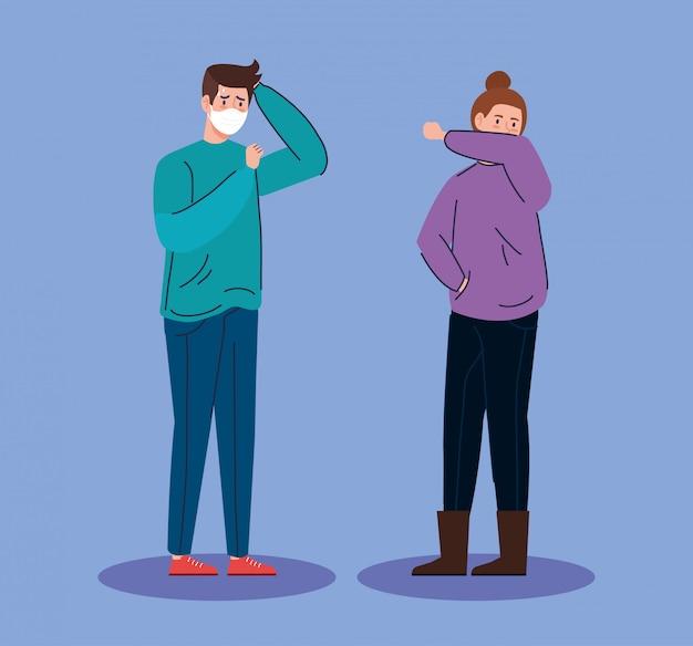 Personaggi di avatar malato giovane coppia
