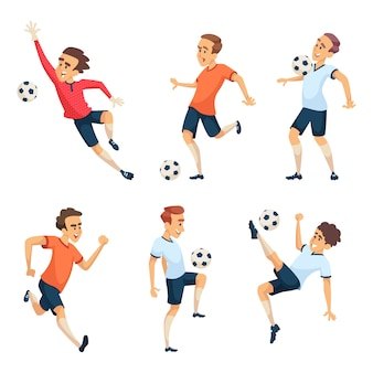 Personaggi di calcio che giocano a calcio. isolato isolato delle mascotte di sport su bianco. giocatore di squadra con illustrazione della palla