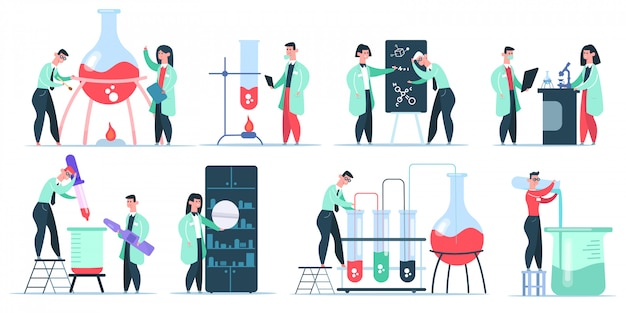 Personaggi di chimico di scienza. ricerca in laboratorio di scienze, scienziati di clinica chimica di lavoro. insieme dell'illustrazione dei ricercatori farmaceutici. laboratorio e laboratorio, bruciare il tubo con liquido