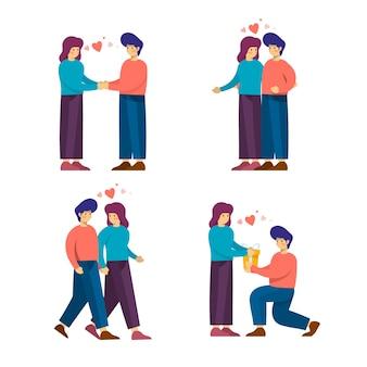 Personaggi di coppia simpatico cartone animato per san valentino