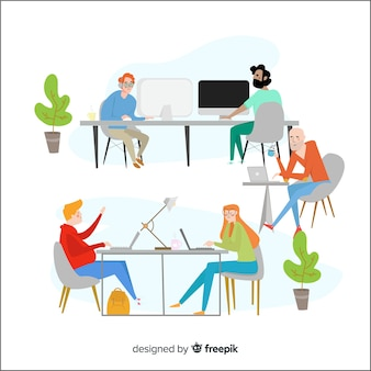 Personaggi di design piatto seduto alle scrivanie in ufficio