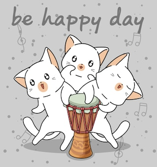 Personaggi di gatti kawaii con un tamburo