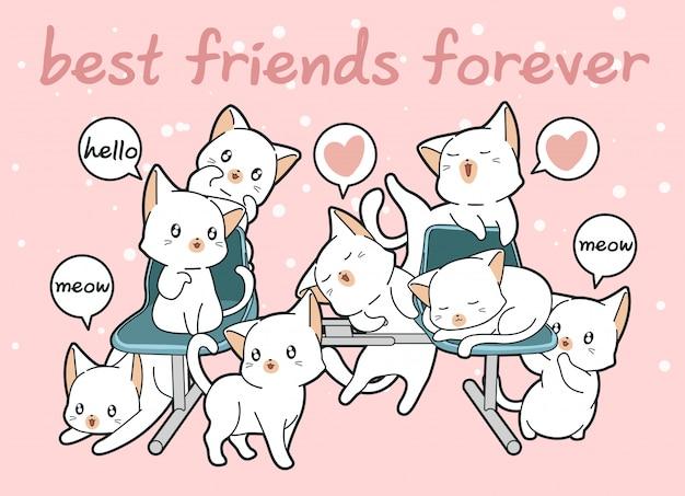 Personaggi di gatti kawaii con una panchina
