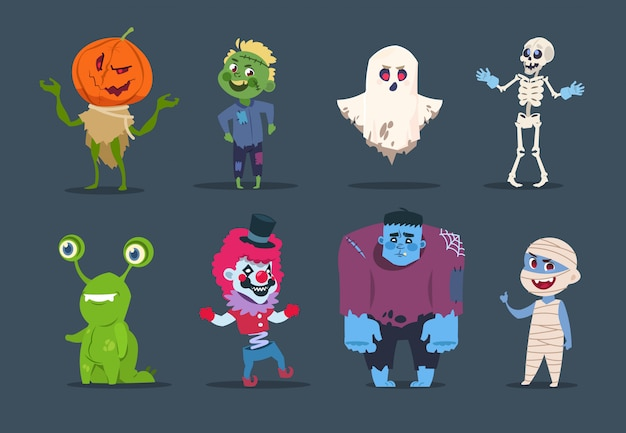 Personaggi di halloween. simpatici mostri e bambini vestiti con costumi di halloween.