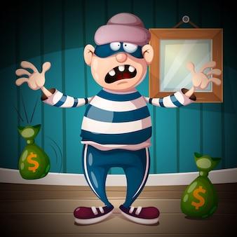 Personaggi di ladri divertenti, carini, pazzi
