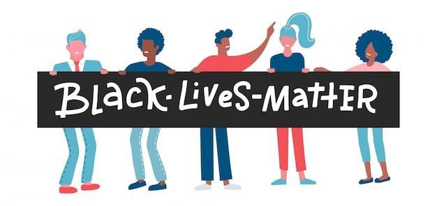 Personaggi di manifestanti americani uomini e donne di colore.