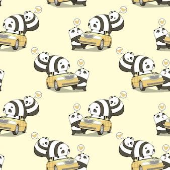Personaggi di panda kawaii senza soluzione di continuità con un modello di auto