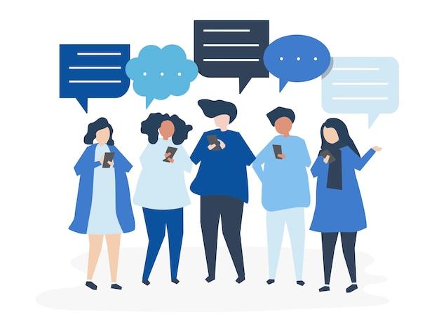 Personaggi di persone che chattano tramite smartphone