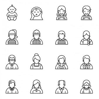 Personaggi di persone, collezione di icone di avatar di persone.