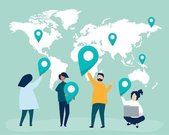Personaggi di persone con mappa e illustrazione di marcatori GPS