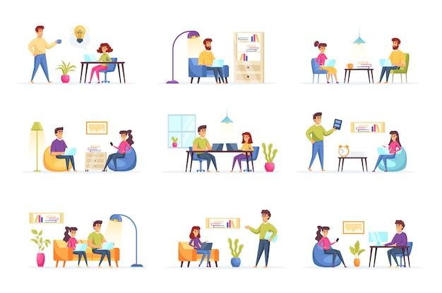 Personaggi di persone di raccolta di lavoro freelance