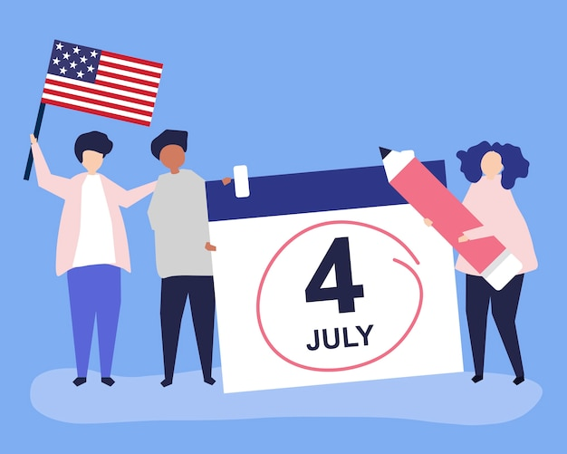 Personaggi di persone e illustrazione del concetto di quarto di luglio