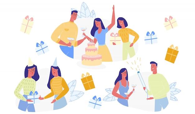 Personaggi di persone felici che celebrano il set di compleanno
