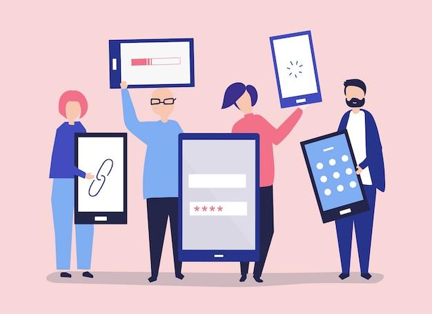 Personaggi di persone in possesso di dispositivi digitali giganti