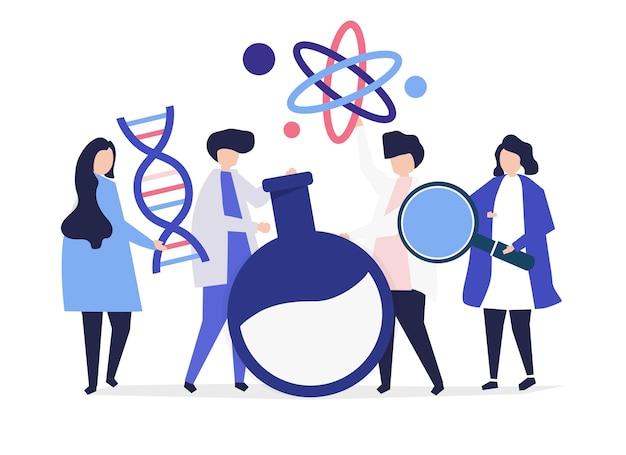 Personaggi di scienziati in possesso di icone di chimica