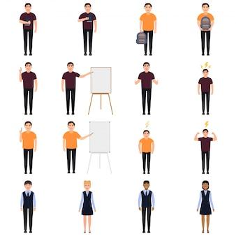 Personaggi di scolari e insegnanti in set stile cartone animato