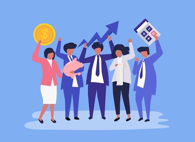 Personaggi di un popolo d'affari e icone di crescita delle prestazioni