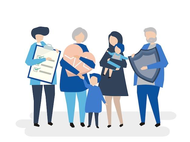 Personaggi di una famiglia allargata con assistenza sanitaria