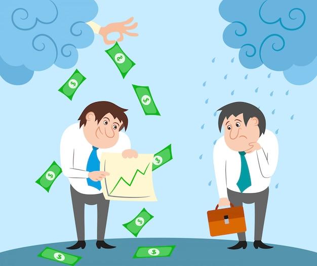 Personaggi di uomini d'affari di successo e falliti