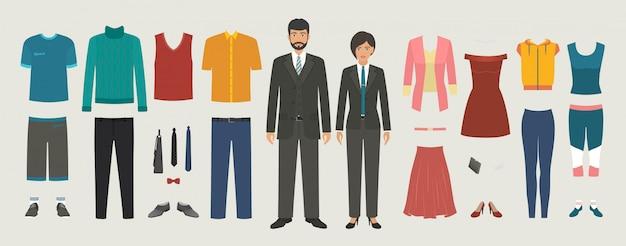 Personaggi di uomo e donna con set di abbigliamento business, casual, sport. kit di costruzione di persone che vestono.