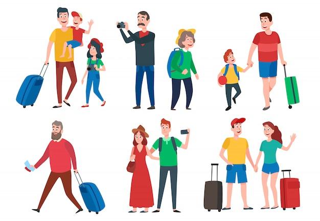 Personaggi di viaggio. gruppo itinerante, vacanze in famiglia, vacanze in famiglia e giri turistici in viaggio insieme dei cartoni animati