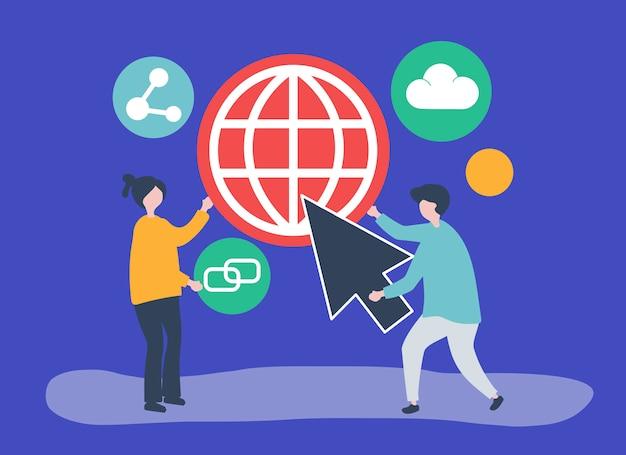 Personaggi e illustrazione di concetto di comunicazione globale